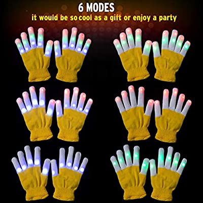 Amazer Kids Light Gloves Children Finger Light Flashing LED Warm Gloves with Lights for Birthday Light Party Christmas Xmas Dance Thanksgiving Day Gifts for More Fun- Yellow: Toys & Games