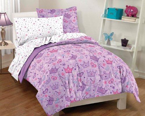 Princess Crowns & Magic Wands Girls Twin Comforter Set (5 Piece Bed In A Bag)