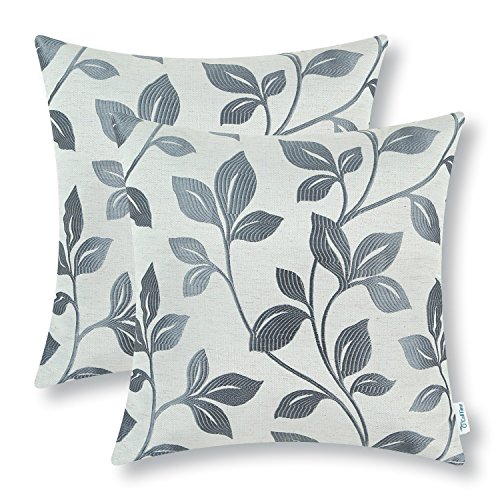 CaliTime Pack of 2 Soft Throw Pillow Covers Cases Couch Sofa Home Decoration Cute Growing Leaves 18 X 18 inches Grey