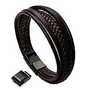 Amazon #DealOfTheDay: Murtoo Leather Bracelet Magnetic-Clasp Cowhide Braided Multi-layer Wrap Mens Bracelet, 8''-8.7''
