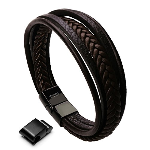 murtoo Mens Cowhide Leather Braided Bracelet Magnetic-Clasp Multi-Layer Wrap Bracelet, 8.7 inch(Brown)