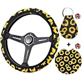 Zadin Sunflower Steering Wheel Cover for Women - Trendy and Fashionable Sunflower Steering Wheel Cover with Cute Sunflowers Quarter Keyring and Sunflower Car Cup Coaster (Sunflower)
