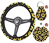 Zadin Sunflower Steering Wheel Cover for Women- Trendy and Fashionable Sunflower Steering Wheel Cover with Cute Sunflowers Quarter Keyring and Sunflower Car Cup Coaster, Sunflower Car Accessories