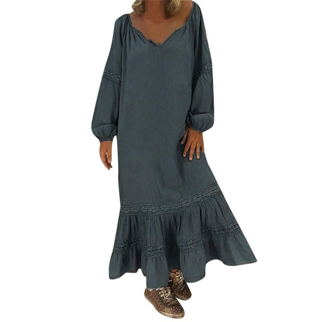 Snowfoller Women Boho Loose Dress V-Neck Long Sleeve Ruffles Hem Beach Party Dress Summer Lace Maxi Dress