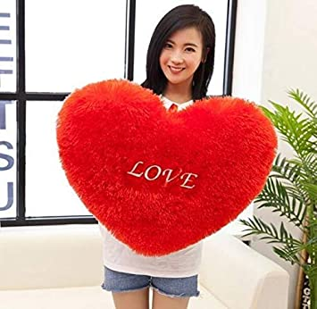 PRACHI TOYS Premium Quality Huggable Heart Shape Soft Plush Stuffed Cushion Pillow Toy in Red Color