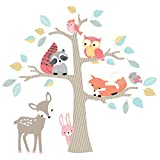 Lambs & ~ Ivy Little Woodland Animales Árbol Jumbo apliques de pared, café