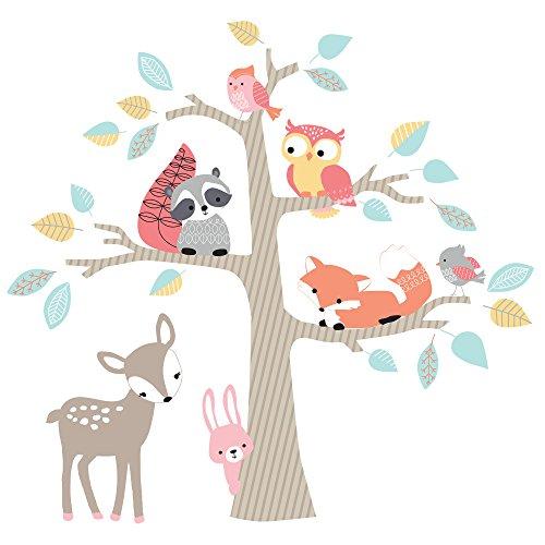Lambs & Ivy Little Woodland Animals Tree Jumbo Wall Appliques, Brown