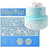 Anyana set of 2 sugar edible cake silicone fondant impression lace mat cake decorating mold gum paste cupcake topper tool icing candy imprint baking moulds sugarcraft music note musical ensemble