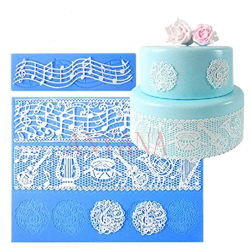 Cake Topper Lace - Anyana set of 2 sugar edible cake silicone fondant impression lace mat cake decorating mold gum paste cupcake topper tool icing candy imprint baking moulds sugarcraft music note musical ensemble