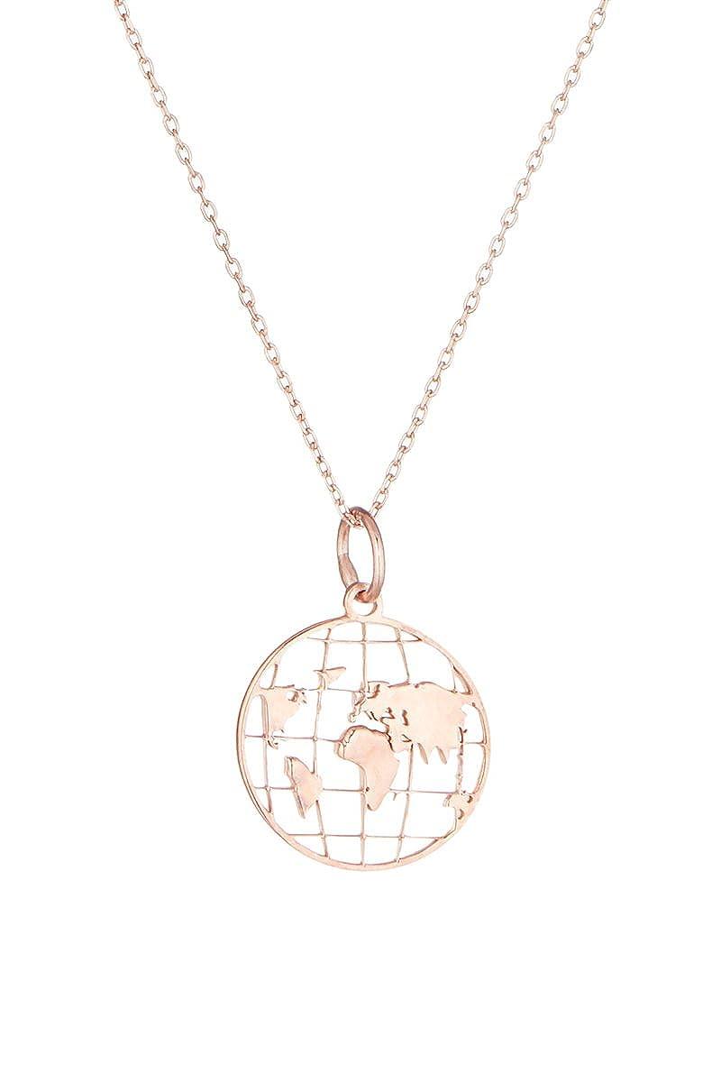 Córdoba Jewels | Gargantilla en Plata de Ley 925 bañada en Oro Rosa. Diseño Mapamundi Rose Gold: Amazon.es: Joyería