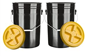 House Naturals Large 6 Gallon Food Grade Bucket Pail with Yellow Gamma Screw on Lid (Pack of 2) BPA Free Made in USA