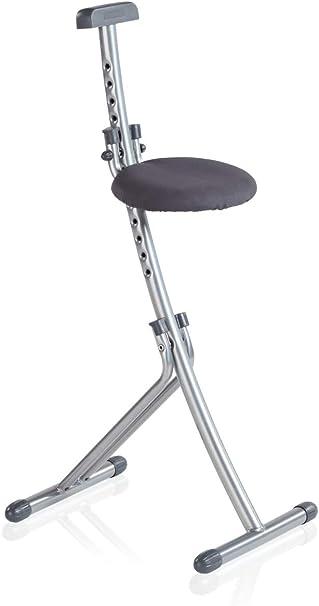 Leifheit Multisitz Niveau, rückenschonende Sitz und Stehhilfe, Bügelstehhilfe belastbar bis 100 kg, 13 fach höhenverstellbar von 45 bis 85 cm,