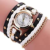 Womens Bracelet Watches COOKI Lady's Girl's Fashion Small Table Twist Rivet Leather Bracelet Quartz Watches on Sale Clearance Lady Watches Female watches Cheap Watches for Women -x2 (E)