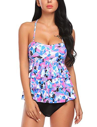 Ruffle Halter Tankini Top - Avidlove Women Ruffle Halter Tankini Top and Skort Bottom Two Piece Tankini Sets Bathing Suits