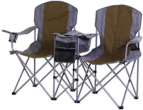 Outsunny 2-Person Folding Oxford Metal Portable Camping Chair with Center Ice Bag Included Magazine Sleeve, Green