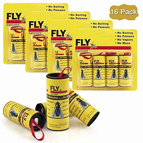 Big Devil Sticky Fly Ribbons, Fly Trap, Fly Catcher Ribbon, Fly Paper Ribbon, Fly Paper Strips, Fly Paper Strips, Fly Catcher Trap, Fly Ribbon, Fly Bait (16 Pack)