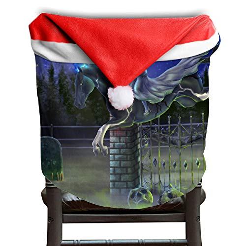 EDYE Halloween Zombie Horse Witch Rider Animated Christmas Xmas Themed Dinning Seat Chair Cap Hat Covers Ornaments for Backers Slipcovers Wraps Coverings Decorations Protector Set -