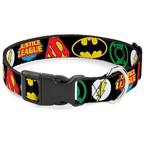 Buckle-Down Plastic Clip Collar - Justice League Superhero Logos CLOSE-UP Black - 1.5