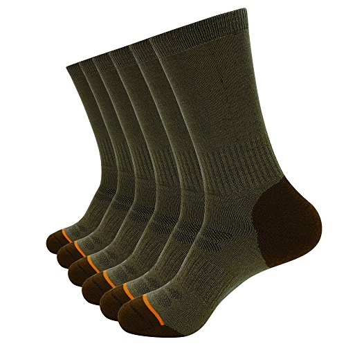 Enerwear Men's 6 Pack Wool Outdoor Hiking Work Boot Crew Socks & Athletic Socks (10-13, Coffee) (Sock Work Wool)