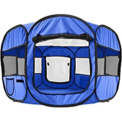 "OxGord 8-Panel Pop-Up Tent with Carry Bag Portable PlayPen for Pets, 48 by 48 by 25"", Blue"
