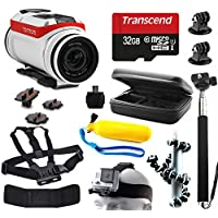 TomTom Bandit 4K HD Action Camera with 11 Piece Accessories Bundle includes 32GB Card + Selfie Stick + Case + Head/Chest Strap + Floating Handle + Octopus Tripod + Card Reader + More