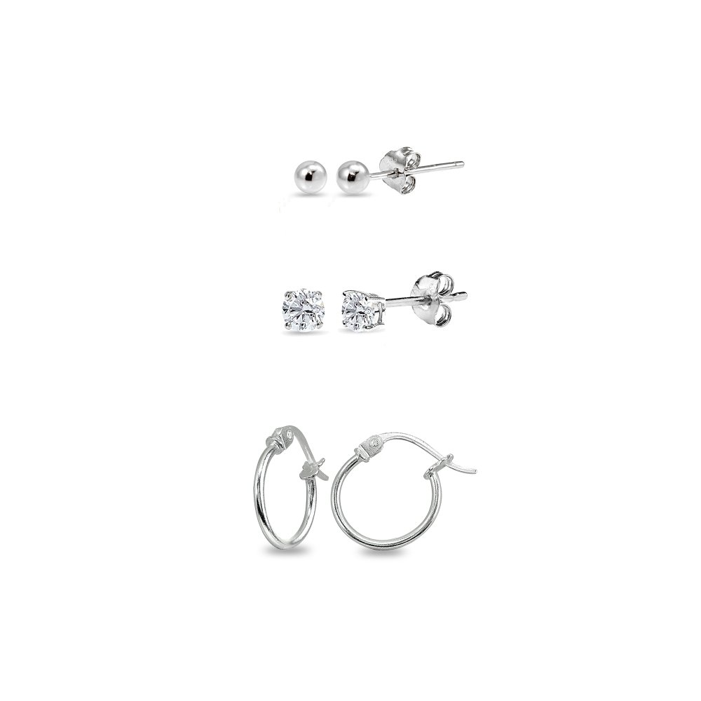3 Pairs Sterling Silver Unisex 12mm Tiny Small Hoops, 3mm Round Ball Stud & CZ Stud Earrings Set