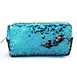 Starte Mermaid Sequin Cosmetic Bag Magic Sequins Color Changing Makeup Bags DIY Reversible Sequins Handbag Glitter Pencil Case(Blue+Pink)