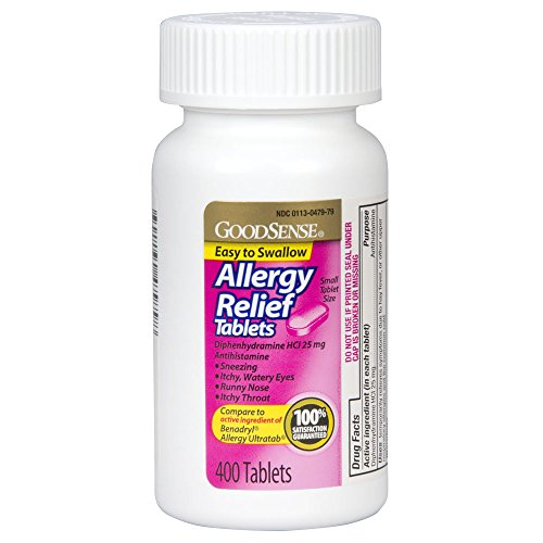Complete Allergy Medication (GoodSense Allergy Relief Tablets, Diphenhydramine HCl Antihistamine, 25 mg, 400 Count)