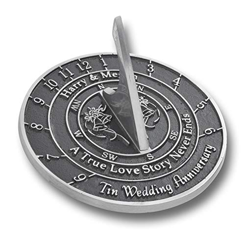 The Metal Foundry Personalized 10th Tin Wedding Anniversary Large Sundial Gift Idea is A Great Present for Him, for Her Or for A Couple to Celebrate 10 Years of Marriage