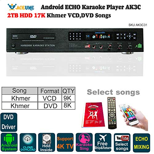 2TB HDD 17K Khmer/Cambodian VCD DVD Songs,Android Karaoke Machine, Jukebox, ECHO Mixing,DVD Driver,Songbook and Remote Controller Included. (Khmer Keyboard)