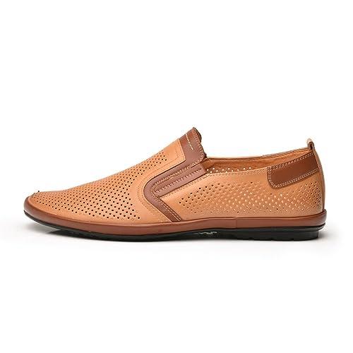 Hombres vagos Zapatos Huecos de conducción Mocasines Moda Zapatos de Cuero Verano Transpirable Zapatos de Barco de Negocios: Amazon.es: Zapatos y ...