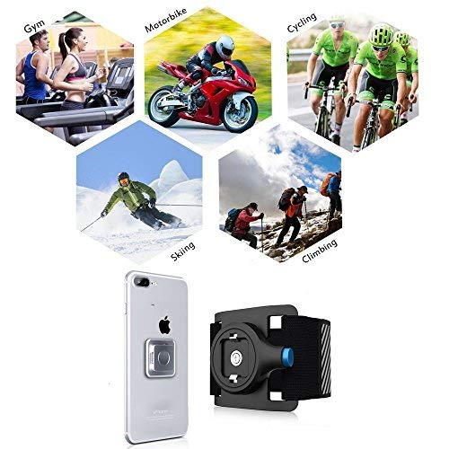 IPhone Armband with Quick On and Off Mount Adjustable iPhone Armband with Magnet and Buckle Lock for Running Hiking Biking Walking