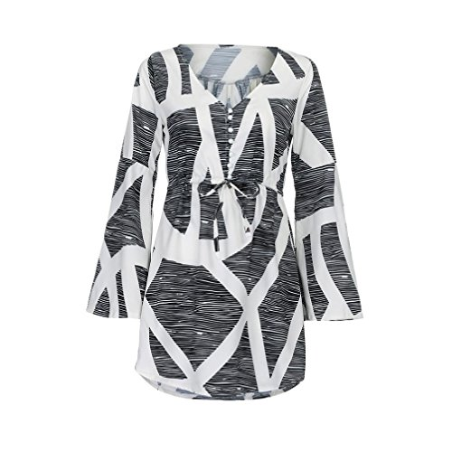 Vestidos verano mujer, Magiyard casual de impresión V Collar vestido de fiesta de manga larga mini vestido Negro