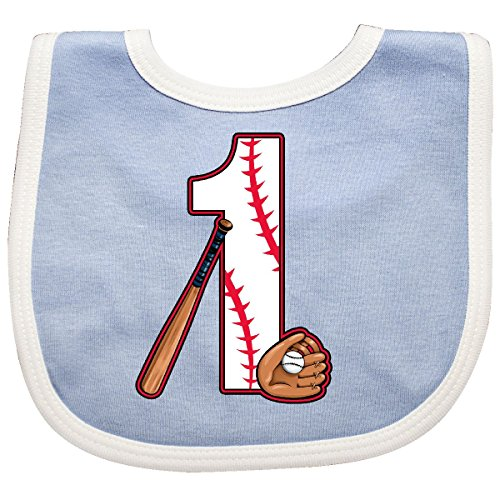 Inktastic - Baseball First Birthday- one year old Baby Bib Blue/White 2caf0