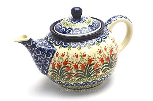 Polish Pottery Teapot - 3/4 qt. - Crimson Bells
