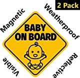 Baby : NEW DESIGN: Reflective and Magnetic Baby on Board Sign for Your Car or Auto (2 Pack) by Bayamo