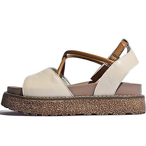 Señoras playa para mujer Beige estudiantes para verano damas señoras con de nueva señoras sandalias SOHOEOS jóvenes zapatos plataforma La Plataforma 1ERd8Wnqg1
