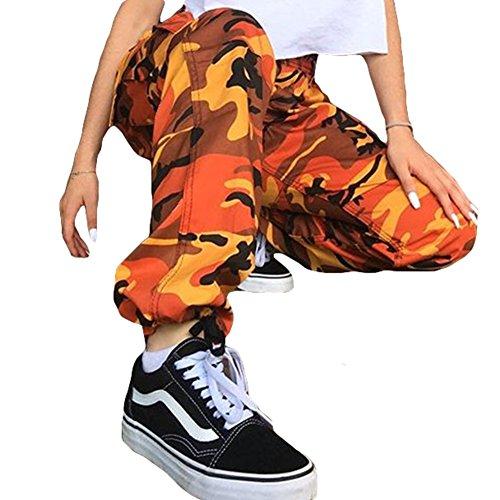 Pantaloni Hip Pantaloni in di Pantaloni Yoy Arancia Hip Donne Camouflage Pant camoscio H8fHqxnUv