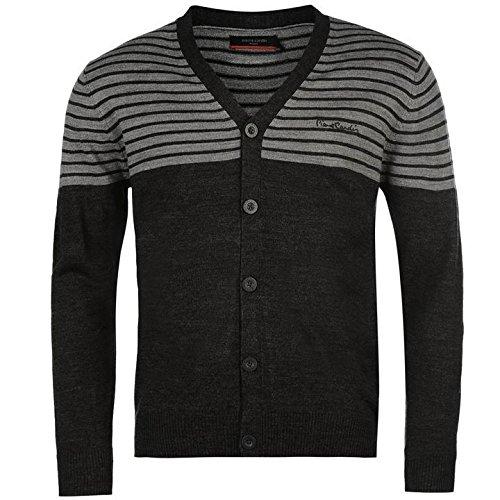 Pierre Cardin Streifen Panel Strickjacke Herren anthrazit/grau Jumper Pullover Top