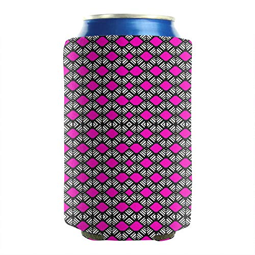 Udfdms Cold Drink Cans Cooler Sleeve Pink Color Checkered Cool Knitting Pattern Keeps Your Drink Ice Cold Can Coolers Sleeves Great for Tailgating Water Bottle Sleeve -2 Pack