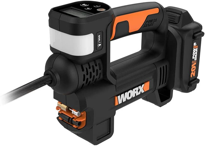 WORX WX092L 20V 2.0Ah 2 in 1 Cordless Inflator Battery and Charger Included, max. 10 Bar, Digital pressure display