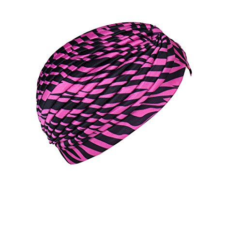 Landana Headscarves Hot Pink Zebra Turban Twist Pleated Hair Wrap Stretch Turban Womens Head Cover (Zebra Cap Pink)