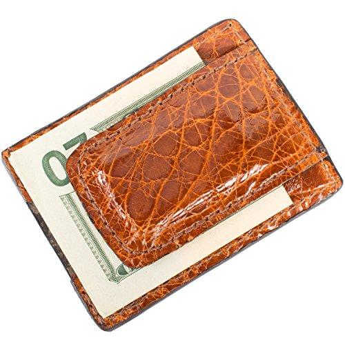 Alligator Money Clip - Genuine Alligator Leather Magnetic Money Clip Wallet (Cognac)