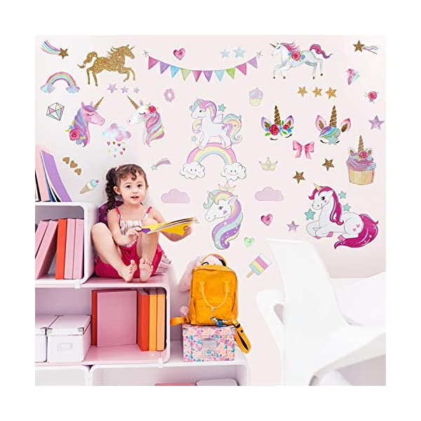 Unicorn Wall Decal, 3Sheets 2Styles 87pcs Unicorn Wall Stickers Wall Decals for Girls Room Kids Rooms Decor … 5
