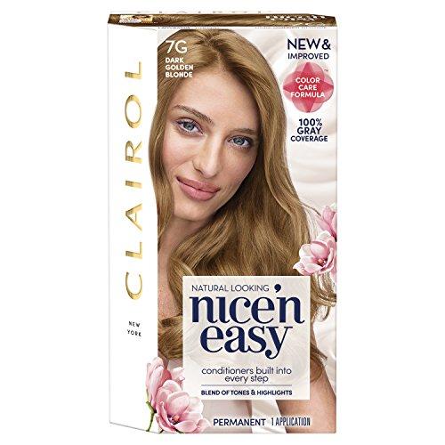 Golden Blonde Kit - Clairol Nice 'N Easy Permanent Hair Color, 7G Dark Golden Blonde (Packaging May Vary)