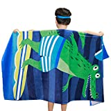 Wowelife Baby Bath Towels for Bath, Pool and Beach 100% Cotton 30 x 63 inch Extended Length for Both Children and Adults(Surfing crocodile)