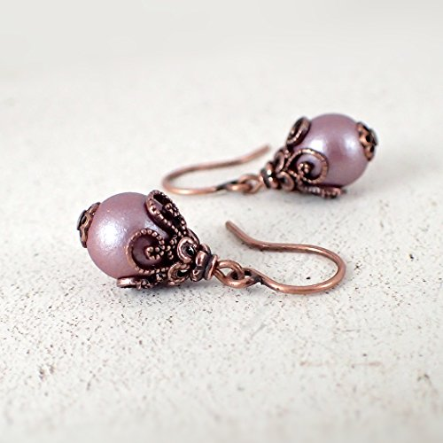 Mauve Beaded Earrings with Victorian-Style Filigree