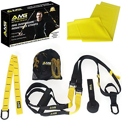 Resistance Suspension Straps- Training Bands For AMG Fitness -100% Nylon- Extension Strap- Home & Gym Workout- AMG Suspension System With Door Anchor- Yoga Stretch Band & eBook Included As A Bonus!