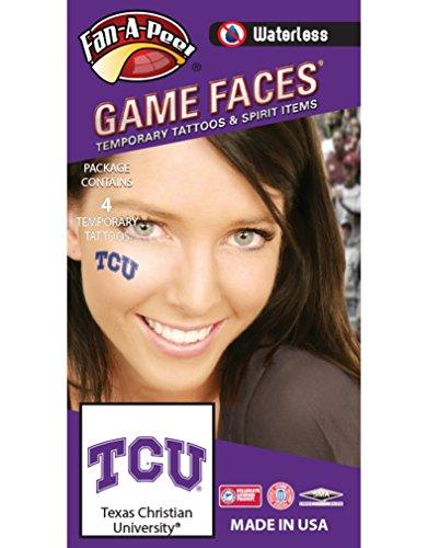 Texas Christian University (TCU) Horned Frogs – Waterless Peel & Stick Temporary Spirit Tattoos – 4-Piece – Purple/White TCU Logo Frog Tattoos