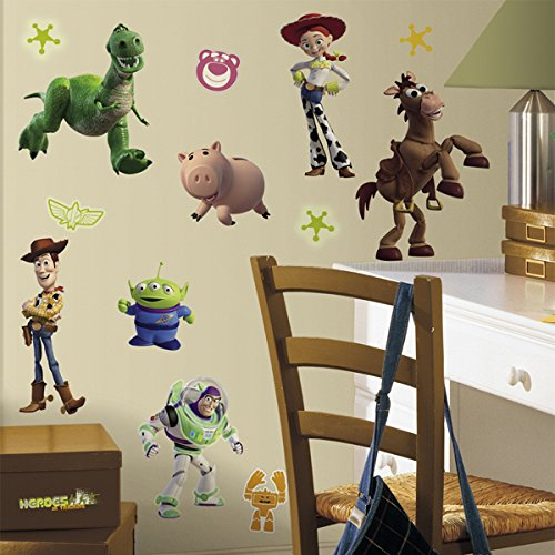 RoomMates RMK1428SCS Toy Story Peel & Stick Wall Decals Glo-in Dark, 34 Count (Set Decal Pixar)